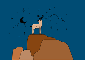 Free deer in the mountain vector