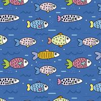 Cute pattern with fishes in the sea