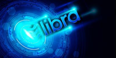 Símbolo de criptomoeda Libra em fundo de tecnologia digital, design de conceito de Blockchain e carteira