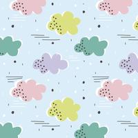 Vector seamless pattern with colorful clouds