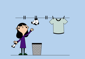 Free woman hanging clothes vector