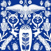 Scandinavian folk art pattern with wolf and flowers
