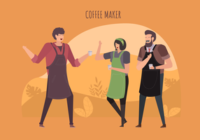 Barista Coffee Maker Character Vector piatto