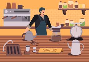 Koffiezetapparaatkarakter bij de Vector Vlakke Illustratie van de Koffiewinkel