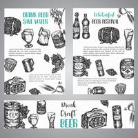 Beer hand drawn illustration Set of brochures with collection of vintage brewery sketched vector symbols October fest banner