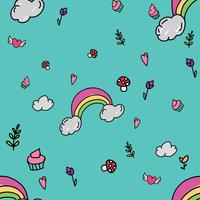Children hand drawn rainbow and ice cream pattern illustration