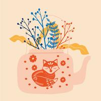 volkskunst theepot met bloem blok print vectorillustratie