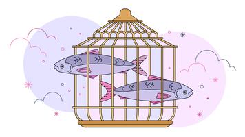 Vecteur de paradoxe de poissons