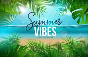 Vector Summer Vibes Illustration with Palm Leaves and Typography Letter on Blue Ocean Landscape Background. Summer Vacation Holiday Design