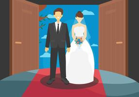 Formal Bride Couple Vector Flat Illustration
