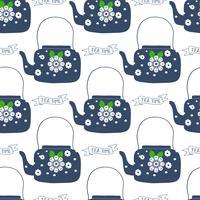 Volkskunst-Teekanne mit Blumenblockdruck-Vektorillustration