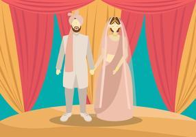 Indien-Hochzeits-Paar-Vektor-Illustration