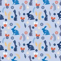 Scandinavian folk art printable pattern with bunnies and flowers  vector