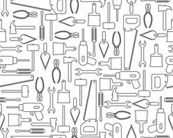 Seamless pattern of icons industrial equipment or construction tools in outline style