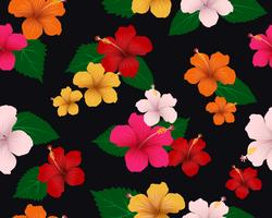 Seamless pattern of tropical flora with hibiscus flowers and leaves on dark background - Vector Illustration