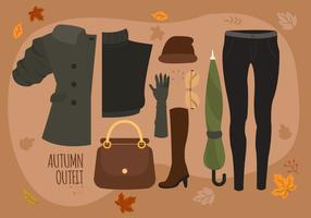 Höst Kvinna Mode Essentials Pack Vektor Illustration