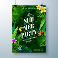 Summer Party Flyer Design with flower, tropical palm leaves and toucan bird on green background. Vector Summer Beach Celebration Design template with nature floral elements and tropical plants