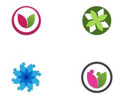hoja de flor de loto logo y símbolos vector