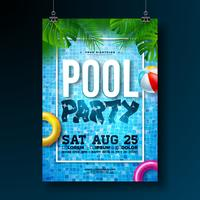 Summer pool party poster design template with palm leaves, water, beach ball and float on pool background.