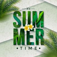 Vector Summer Time Illustration with Typography Letter and Tropical Palm Leaves on Nature Green Background. Exotic Plants and Flower for Holiday Banner