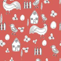 Personnage de dessin animé de poule heureuse dans différentes poses isolées. Illustration plate de vecteur de poule et coq. Ensemble coloré mignon et drôle