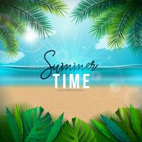Vector Summer Time Illustration with Palm Leaves and Typography Letter on Blue Ocean Landscape Background. Summer Vacation Holiday Design for Banner