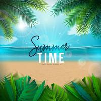Vektor-Sommerzeit-Illustration mit Palmblättern und Typografie-Buchstaben auf blauem Ozean-Landschaftshintergrund. Sommerferien Urlaub Design für Banner