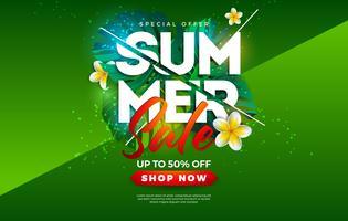 Sommerschlussverkauf-Design mit Blume und exotischen Palmblättern auf grünem Hintergrund. Tropische Vektor-Sonderangebot-Illustration mit Typografie-Buchstaben für Kupon