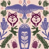 Scandinavian folk art wolf pattern with birds and flowers