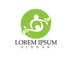 folk blad grön natur hälsa logotyp och symboler