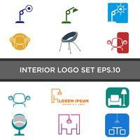 design de logotipo interior luz com ilustração em vetor linha estilo