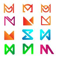 initial letter m logo design for business accounting vector illustration