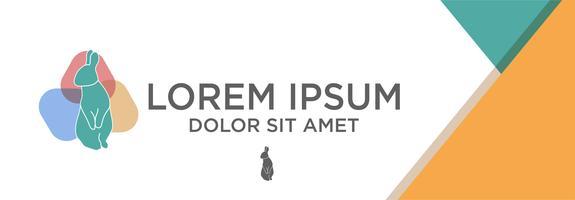 modèle de logo lapin avec concept design plat avec illustration vectorielle abstrait, utilisation prête pour la bannière, page de destination, brochure.