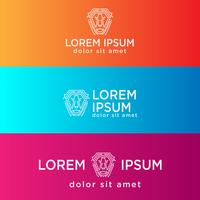 Lion tech kreativ logotyp mall vektor illustration