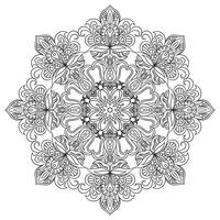 Contour Mandala for anti-stress coloring book. Decorative round ornament.