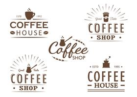 Set of vintage Coffee logo templates, badges and design elements. Logotypes collection for coffee shop, cafe, restaurant. Vector illustration. Hipster and retro style.