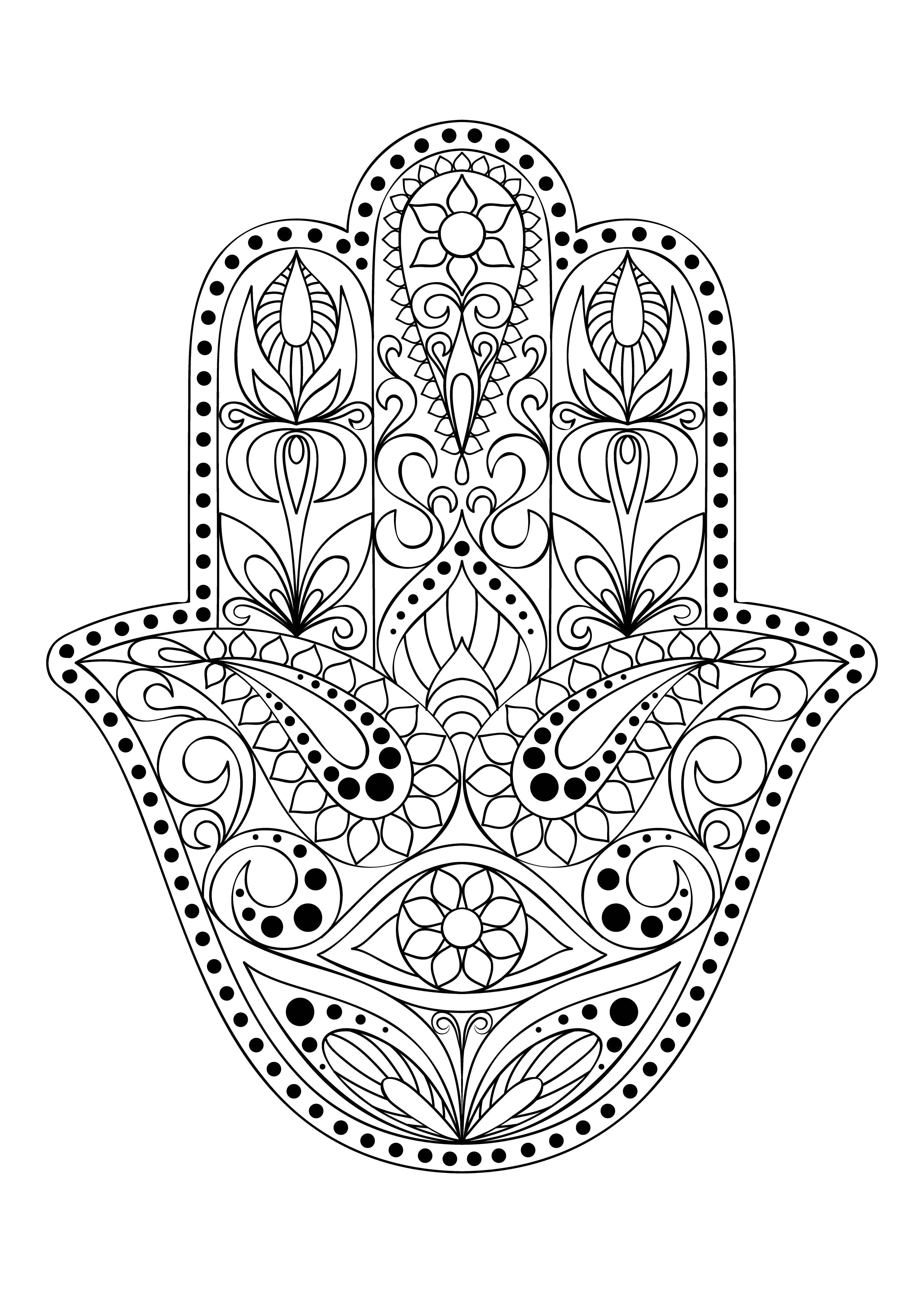 Hand Drawn Hamsa Symbol Hand Of Fatima Ethnic Amulet Common In