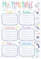 School timetable template on copy book sheet with hand written text. Weekly lessons shedule in sketchy style decorated with hand drawn school doodles. vector