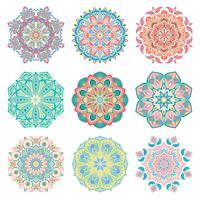 Set of 9 hand-drawn colorful vector Arabic mandala on white background. Round abstract ethnic oriental ornaments.