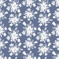 Seamless monochrome vector pattern with spring flowers.Floral patten.
