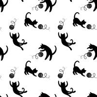 Monochrome seamless pattern with playing cats. Repeating cats background