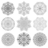 Set of 9 hand-drawn vector Arabic mandala on white background. Ethnic decoration