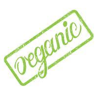 Selo orgânico com letras de mão desenhada isolado no branco. Etiqueta, modelo de crachá