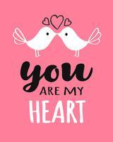Você e eu letras com beijos de pássaros para cartão de dia dos namorados, cartaz, banner ou rótulo. Vector a ilustração de dia dos namorados.