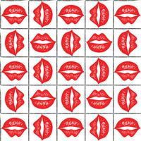 Seamless vector pattern with red lips.