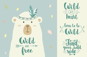 Vector a ilustração do urso bonito dos desenhos animados com elementos tribais do projeto e entregue frases escritas para cartazes, t-shirt imprime, cartões.