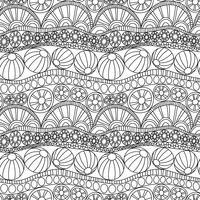 Abstrakte nahtlose Verzierung des Gekritzels. Malvorlage Gekritzelverzierung. Einfarbiges nahtloses Muster für die Färbung. Einfarbiges Textilgekritzelmuster. Wiederholen des abstrakten Hintergrundes des Gekritzels.