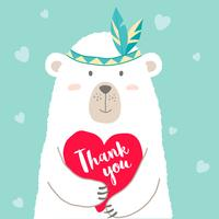 Vector illustration of cute cartoon bear holding heart and hand written lettering Thank You for valentines card, placards, t-shirt prints, greeting cards. Valentines day greeting.