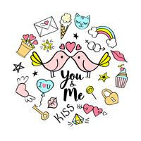 Você e eu letras com doodles femininos para design de cartão de dia dos namorados, impressão de t-shirt da menina, cartazes. Entregue o slogan cômico extravagante tirado no estilo dos desenhos animados.
