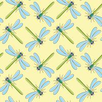 Dragonfly vector seamless pattern for textile design, wallpaper, wrapping paper